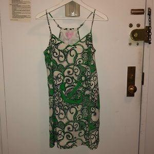 Lilly Pulitzer green printed silk dress